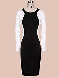 Women's Work Bodycon Dress,Color Block Round Neck Knee-length Long Sleeve Black Spring / Fall