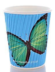Teste padrão de borboleta escaldadura descartável prevenção de café, 8 onças, 100pcs / bag