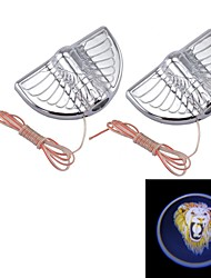 Universal 3W 12V 3000K 2LED Car Door Shadow Lighting with Adhesive, Automotive LED Logo Welcome Lamp,Lion Logo(1Pair)