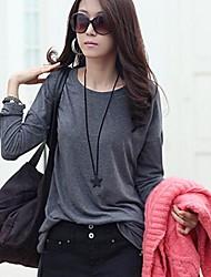 camisas de manga larga de las mujeres de cuello redondo (más colores)