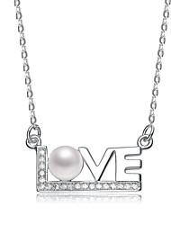 Hanazo Woman's 925 Silver 5mm Natrual Pearl Pendant With Chain