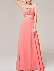 Floor-length Chiffon Bridesmaid Dress - Elegant A-line Spaghetti Straps with Flower(s) / Sash / Ribbon