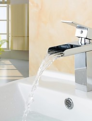 Bathroom Sink Faucet Contemporary Design Waterfall Brass High Grade Faucet (Chrome Finish)
