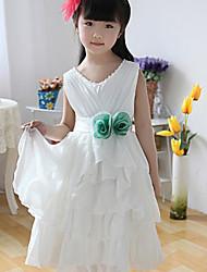 Ball Gown Tea-length Flower Girl Dress - Cotton Sleeveless