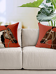 Set of 2 Red Horse Cotton/Linen Printed Decorative Pillow Cover
