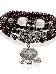Women's Fashion Crystal Garnet Lucky Multiturn Buddha Beads Bracelet