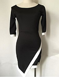 CoCo Zhang All Match Contrast Color Sey Bodycon Dress