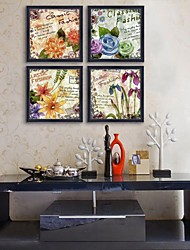 E-HOME® Framed Canvas Art,Flower Framed Canvas Print Set of  4