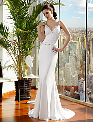 LAN TING BRIDE Trumpet / Mermaid Wedding Dress Simply Sublime Sweep / Brush Train Spaghetti Straps Satin Chiffon withBeading Ruche