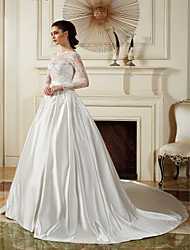 Lan Ting Ball Gown Wedding Dress - Ivory Chapel Train Bateau Satin