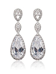 New Trendy White Gold Plated Cubic Zircon Long Drop Earrings For Women