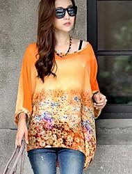 Women's Round Collar Big Code Cape Sleeve Print T-Shirt