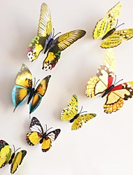 Wall Stickers Wallk Decals, Yellow Magnetic Butterfly Sticker PVC Wall Stickers.