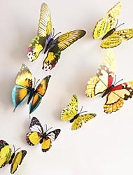 pared pegatinas calcomanías wallk, amarillo magnéticos pegatina mariposa pegatinas de pared de pvc.