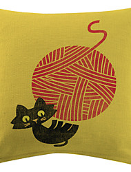 Cat Playing A Ball Cotton/Linen Printed Decorative Pillow Cover