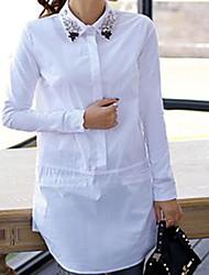 Women's Pink/White Blouse , Shirt Collar Long Sleeve