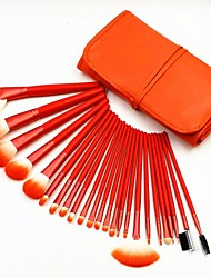 24pcs High Quality Professional Bright Orange Makeup Brush Set