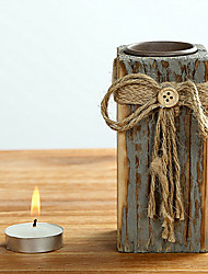 Retro Handcrafted Wooden Candle Holder
