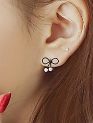 Stud Earrings Pearl Alloy Black Jewelry Party Daily Casual