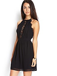 Women's Sexy Solid A Line Dress , Halter Above Knee