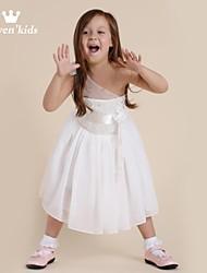 Girl's Floral Dress,Chiffon Summer / Spring / Fall White