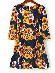 Women's Multi-color Dress , Print ¾ Sleeve