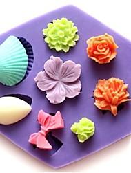 мини-роза стеклянные бантом форме цветка помады торт шоколадный силиконовые формы кекс украшения инструменты, l8.5cm * w7.5cm * h1.3cm