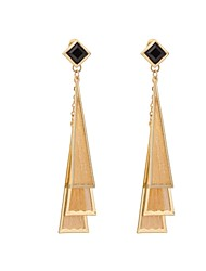 Woman's Fashion Luxury Exaggerated Gold Triangle Earrings