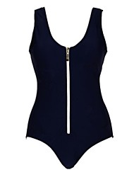 Women's Fashion Sexy Dark Navy Zipper Design One Piece Swimwear Swimsuit Bathing Suit