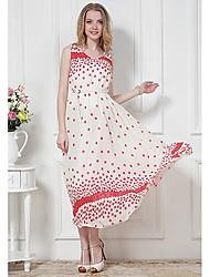 Ls модные женские случайные горошек свежий платье