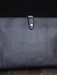 cuero genuino bolso maletín portátil embrague unisex
