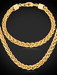 fantasia nova corrente de ouro corda torcida colar pulseira 18k banhado conjunto robusto para homens mulheres selo 18k de alta qualidade 7 milímetros
