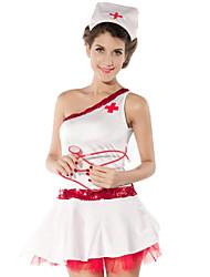 sexy chica de poliéster blanco uniforme de la enfermera