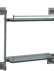 à double plateau en verre contemporaine nickel fini paroi en acier inoxydable SUS304 monté accessoire de salle carrée
