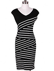 L.L.L Women's Sexy/Casual V-Neck Sleeveless Dresses (Cotton)
