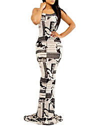 hot moda sexy novos jornais york das mulheres impresso vestido longo