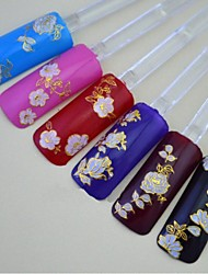 24pcs Of Mixed Gold Pink Elegant Flowers Nail Sticker Nail Decorations