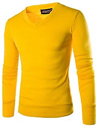 Men's Pure Pullover , Cotton Blend Long Sleeve