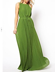 Women's Solid Green Dress , Casual Crew Neck Sleeveless