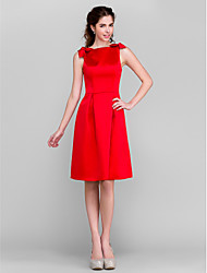 Lanting Bride Knee-length Satin Bridesmaid Dress A-line Bateau Plus Size / Petite with Bow(s)