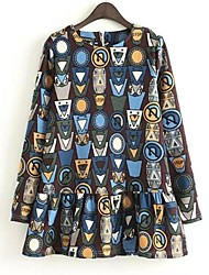 vestido de manga larga cuello redondo impresa de las mujeres