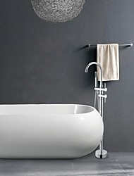 latón macizo de pie moderna ducha bañera de pie grifo con ducha de mano - acabado cromado