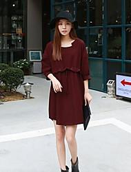 женская круглым воротом моды случайные платья (более цветов)