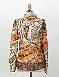женская водолазка с длинным рукавом случайные шифон блузки