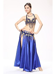 Belly Dance Outfits Women's Performance Sequined Silk Buttons Paillettes Sequins Dropped