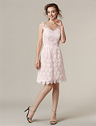 Lanting Bride® Knee-length Lace Bridesmaid Dress - A-line V-neck Plus Size / Petite with
