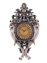 """34,4 """"h cuivre antique polyrésine argentée placage mur mute horloge"""