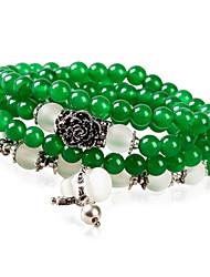 Women's Fashion Rose Emerald  Multiturn Lucky Buddha Beads Crystal Bracelet