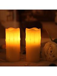 Início impressões ™ 1-3 / 4x4 polegadas sem chama cera real gotejamento votiva levou vela, embalagem de 2