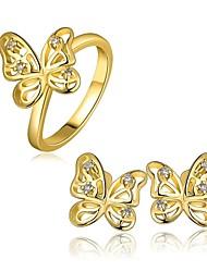 Mode Silber Zinn-Legierung rosig vergoldete Schmetterling Schmuck-Set (1 Set)